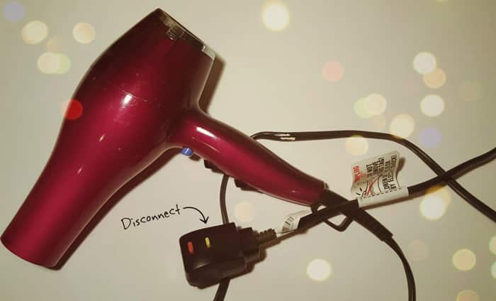 Disconnect hair dryer from the Electrical Source