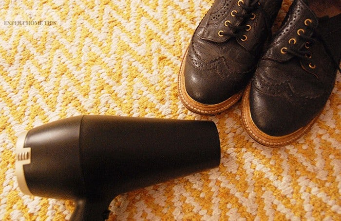 Warming shoes with hairdryer