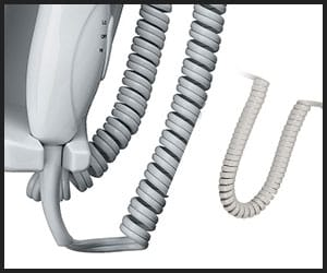 Coiled Cord Of Wall Mounted Blow Dryers