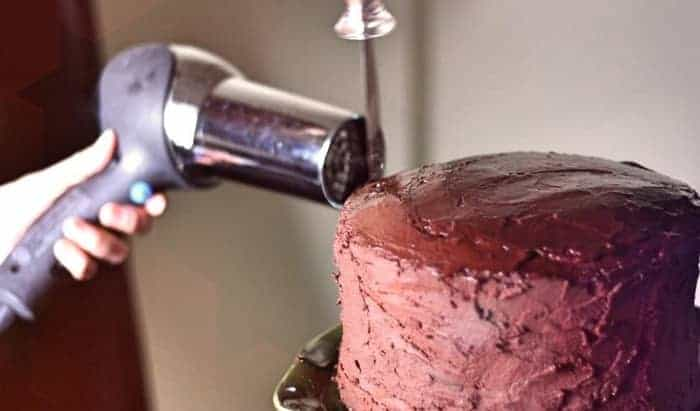 frosting with hairdryer